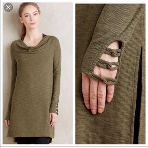 Pure + Good Cowl Neck Ribbed moss Tunic